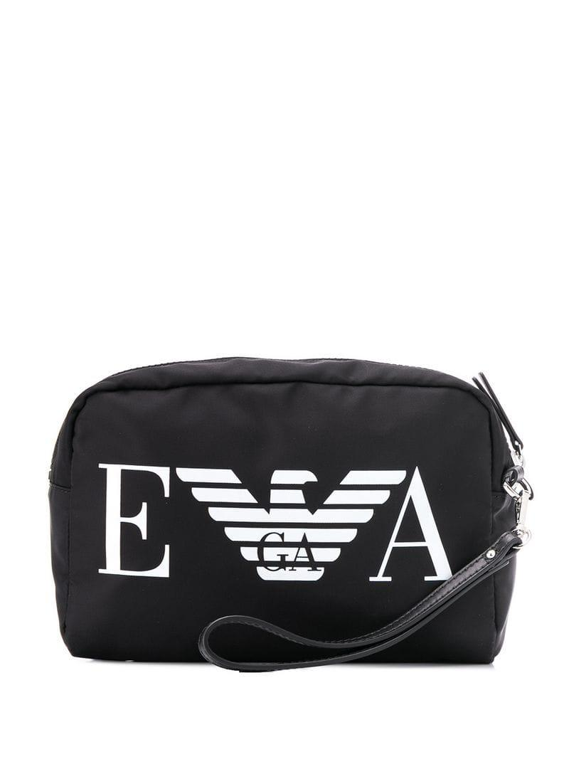 d3ea23d25195 Lyst - Emporio Armani Logo Wash Bag in Black for Men