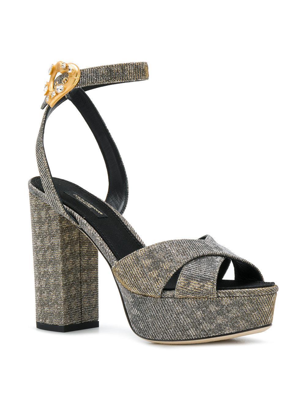 Discount Geniue Stockist platform ankle strap sandals - Metallic Dolce & Gabbana Hot Sale Cheap Online Free Shipping Best VhvfHl84k