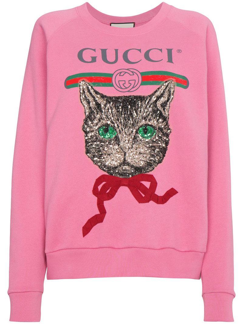 Lyst - Gucci Cat Sweatshirt in Pink