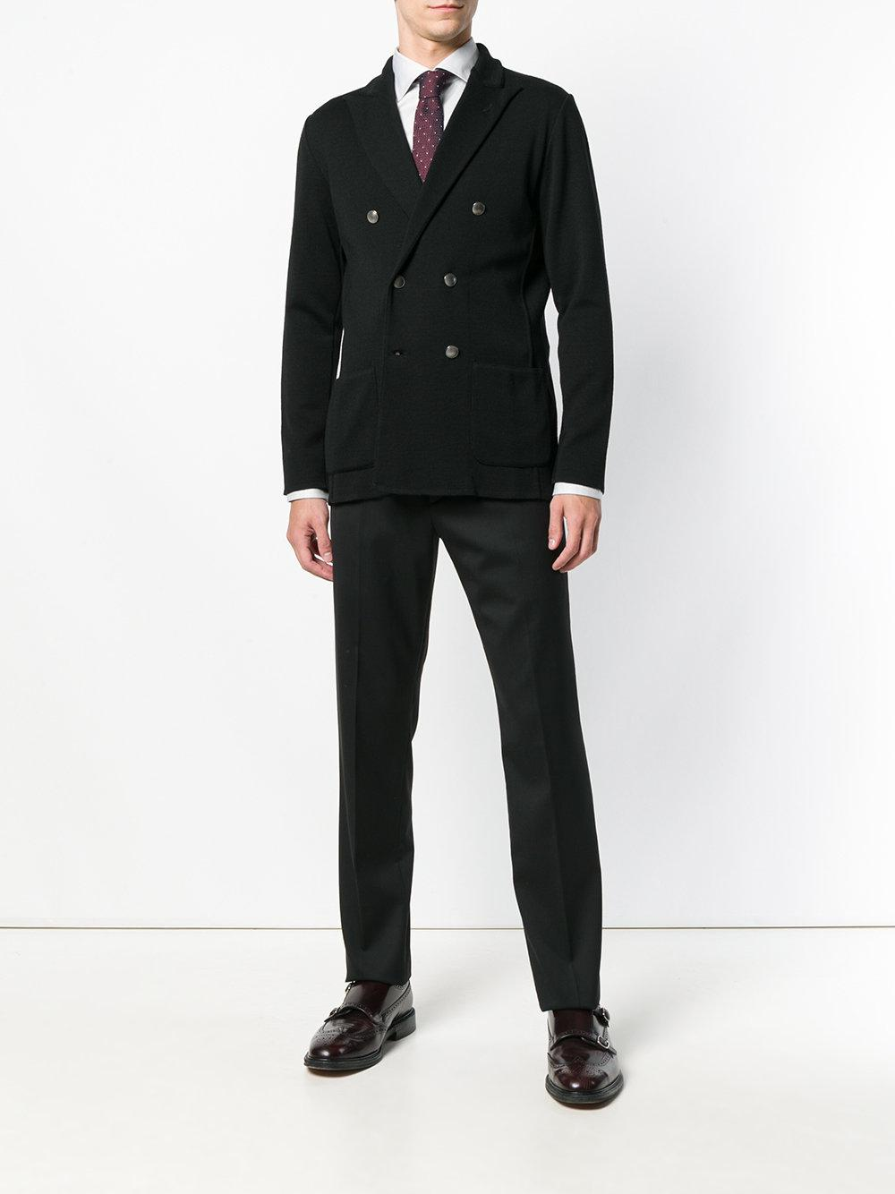 Lardini Wool Double Breasted Blazer in Black for Men