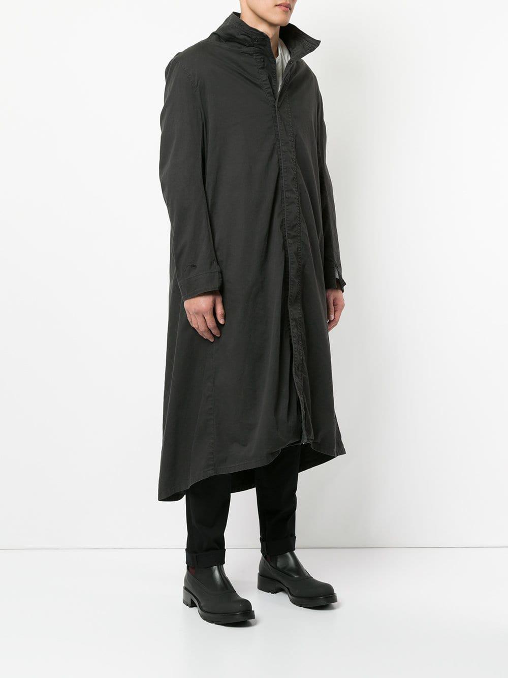Julius Katoen Staande Kraag Lange Jas in het Zwart voor heren