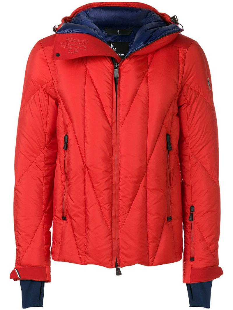 moncler grenoble padded hooded jacket in red for men lyst. Black Bedroom Furniture Sets. Home Design Ideas