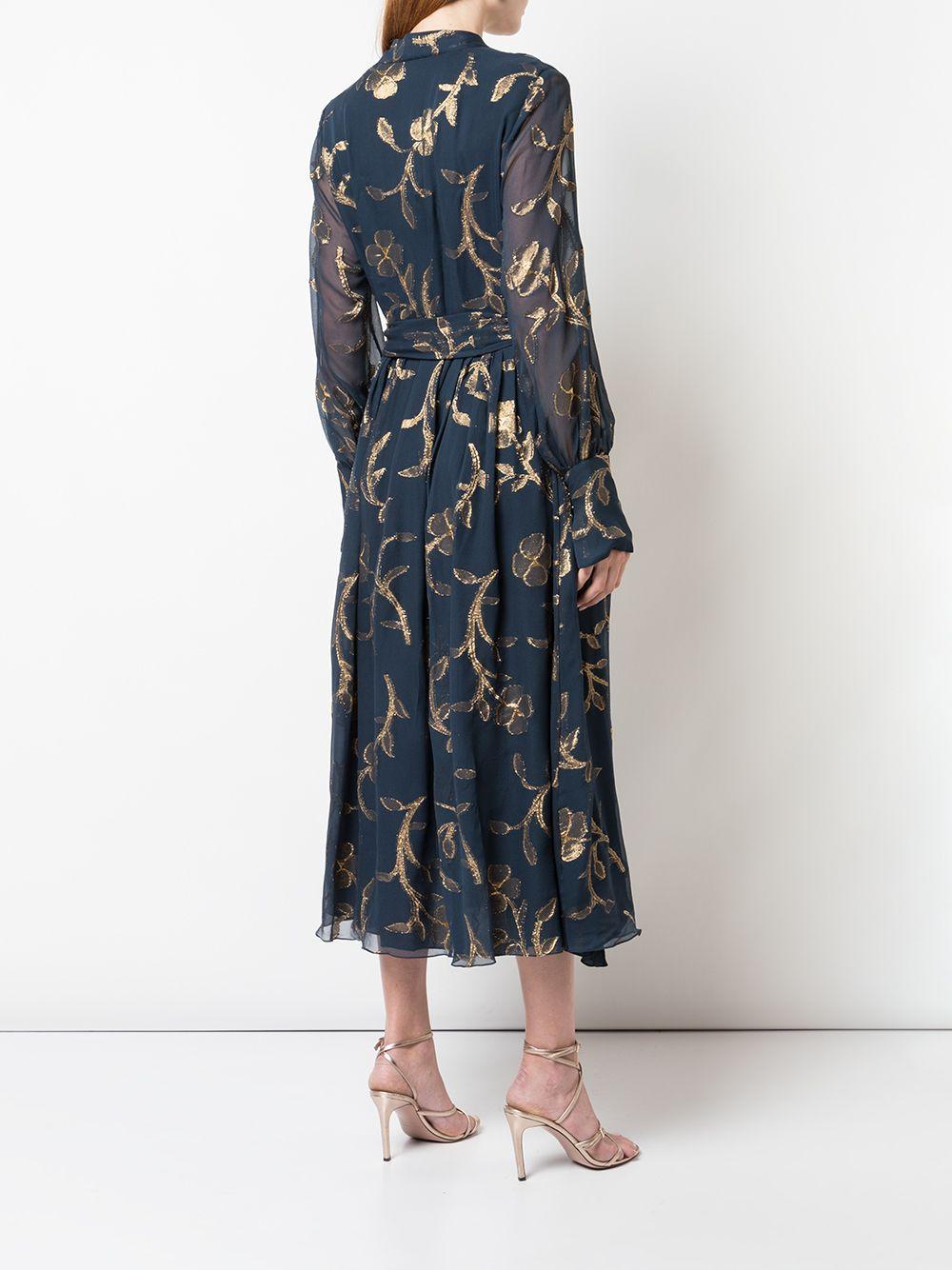 Robe mi-longue à fleurs Mousseline de soie Oscar de la Renta en coloris Noir