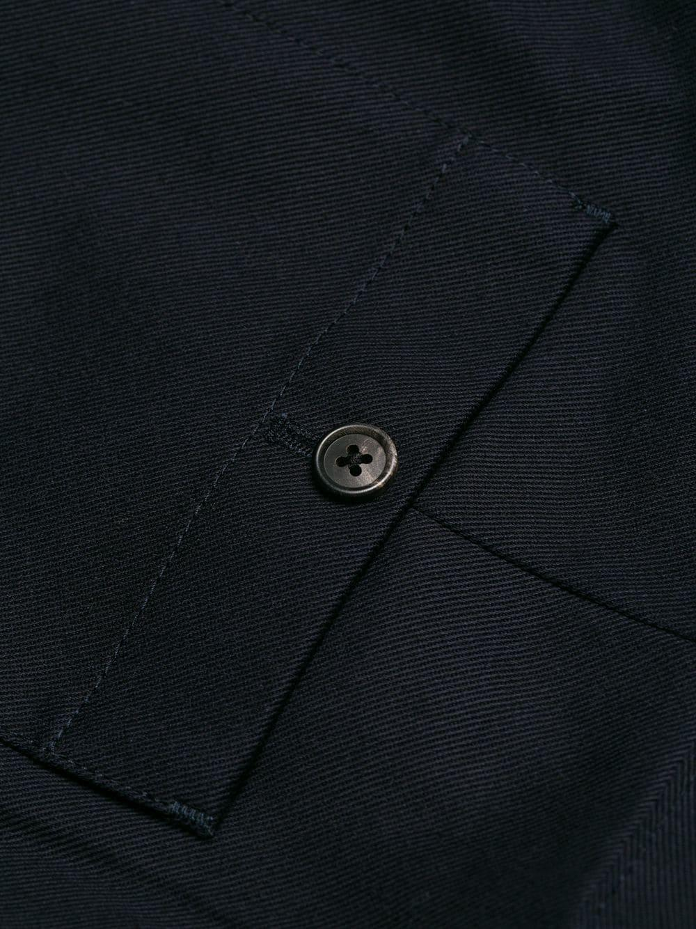 Prada Leather Logo Patch Drill Trousers in Blue for Men