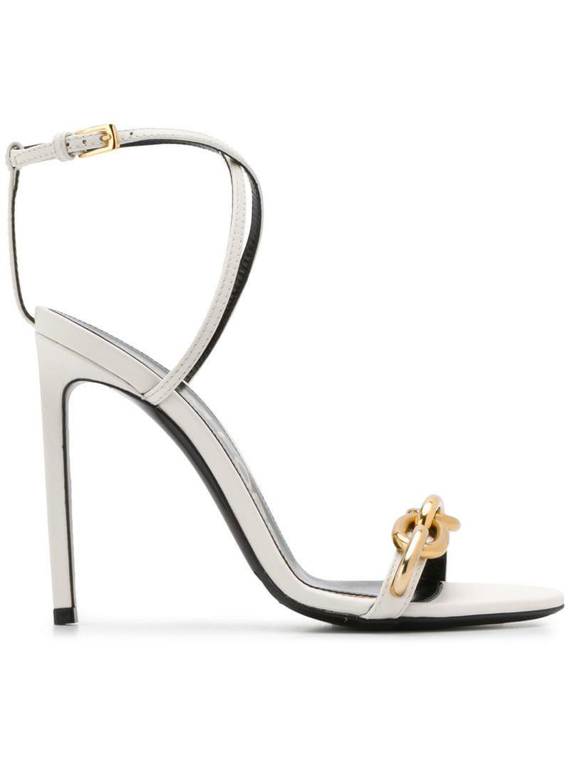 9371c322fb0b Lyst - Tom Ford Cable Chain Sandals in White