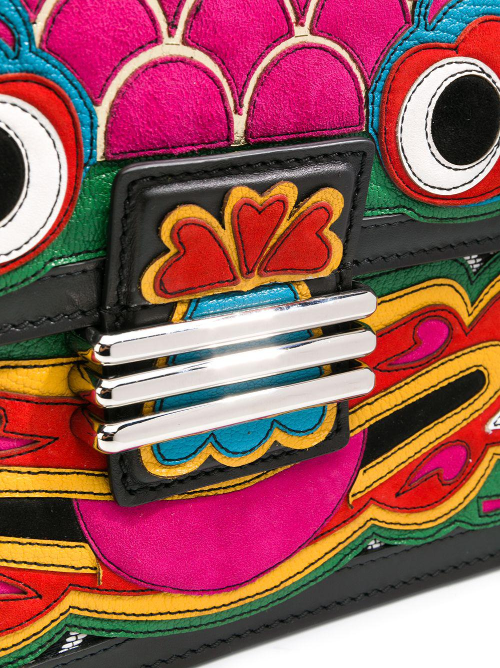 Etro Leather Chinese Mask Rainbow Crossbody in Black