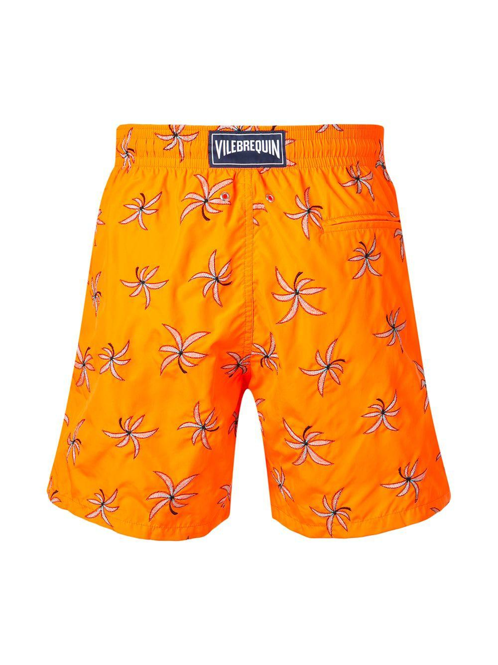c4243356ab Lyst - Vilebrequin Floral Embroidery Swim Trunks in Orange for Men
