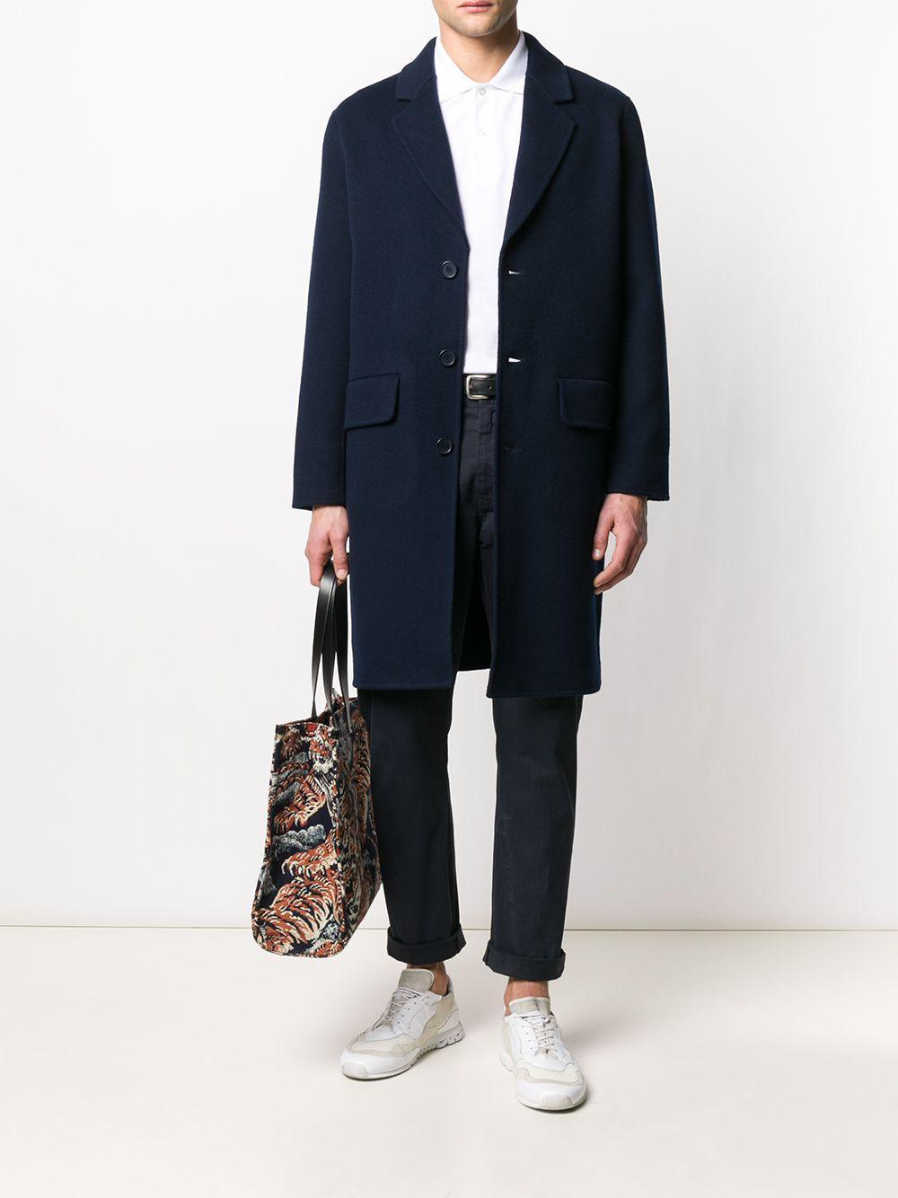 Manteau droit à poches à rabat Laines Sandro pour homme en coloris Bleu vB9Cv