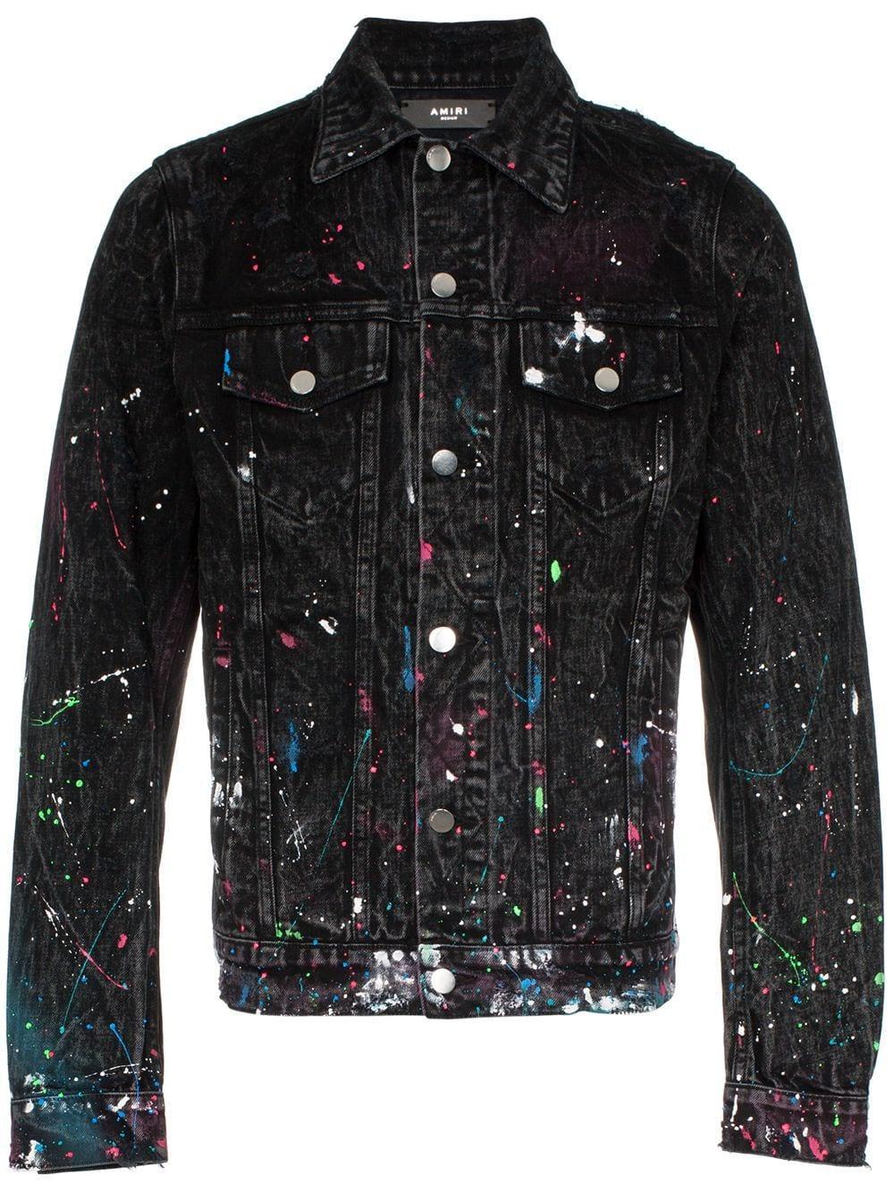 Paint Splatter Print Denim Jacket