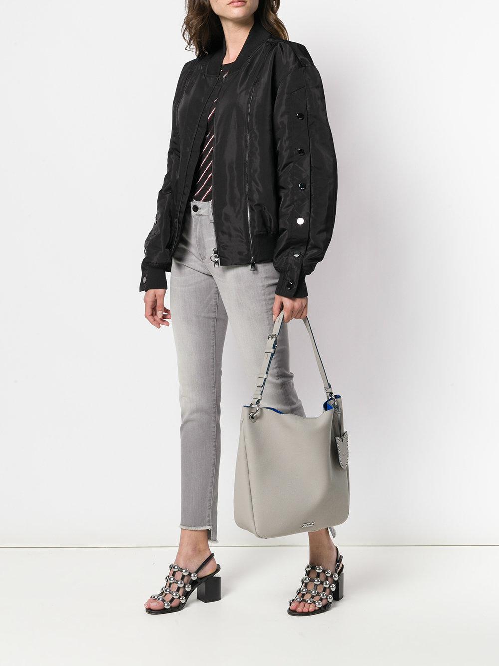 Karl Lagerfeld Leather Karry All Hobo Tote Bag in Grey (Grey)