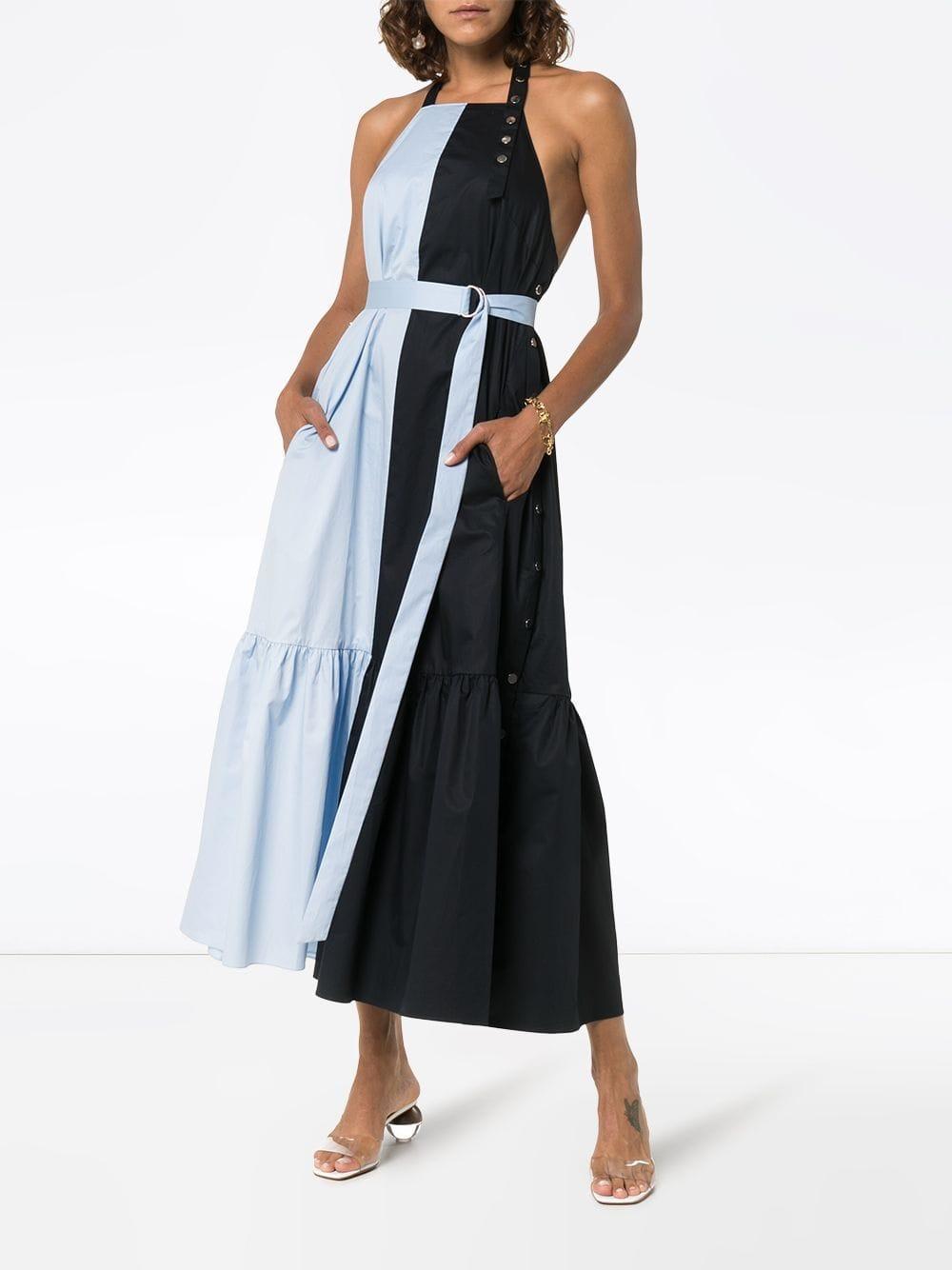 Robe mi-longue Apron à taille ceinturée Coton Tibi en coloris Bleu