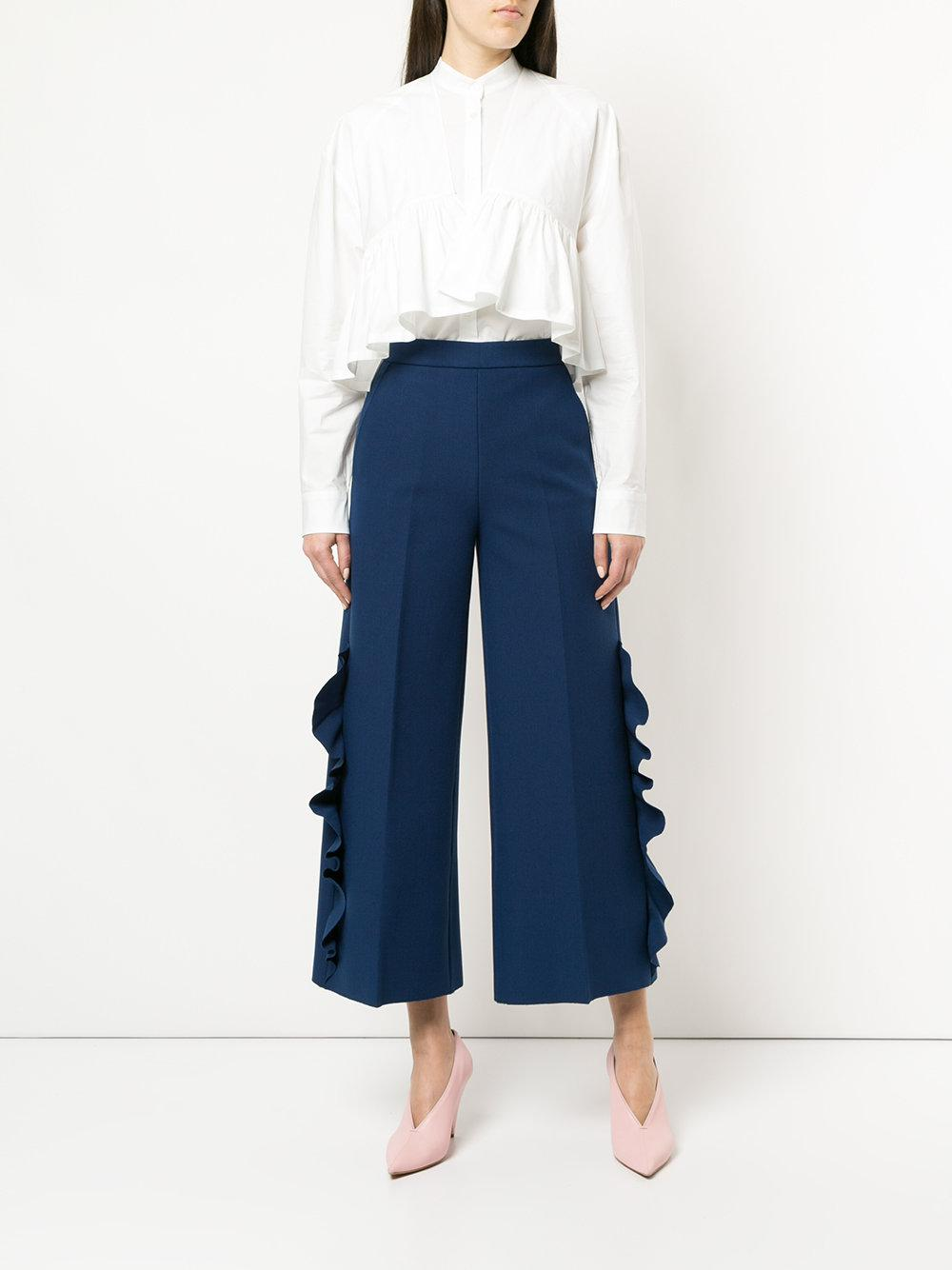 ruffle detail cropped trousers - Blue Msgm klH4K