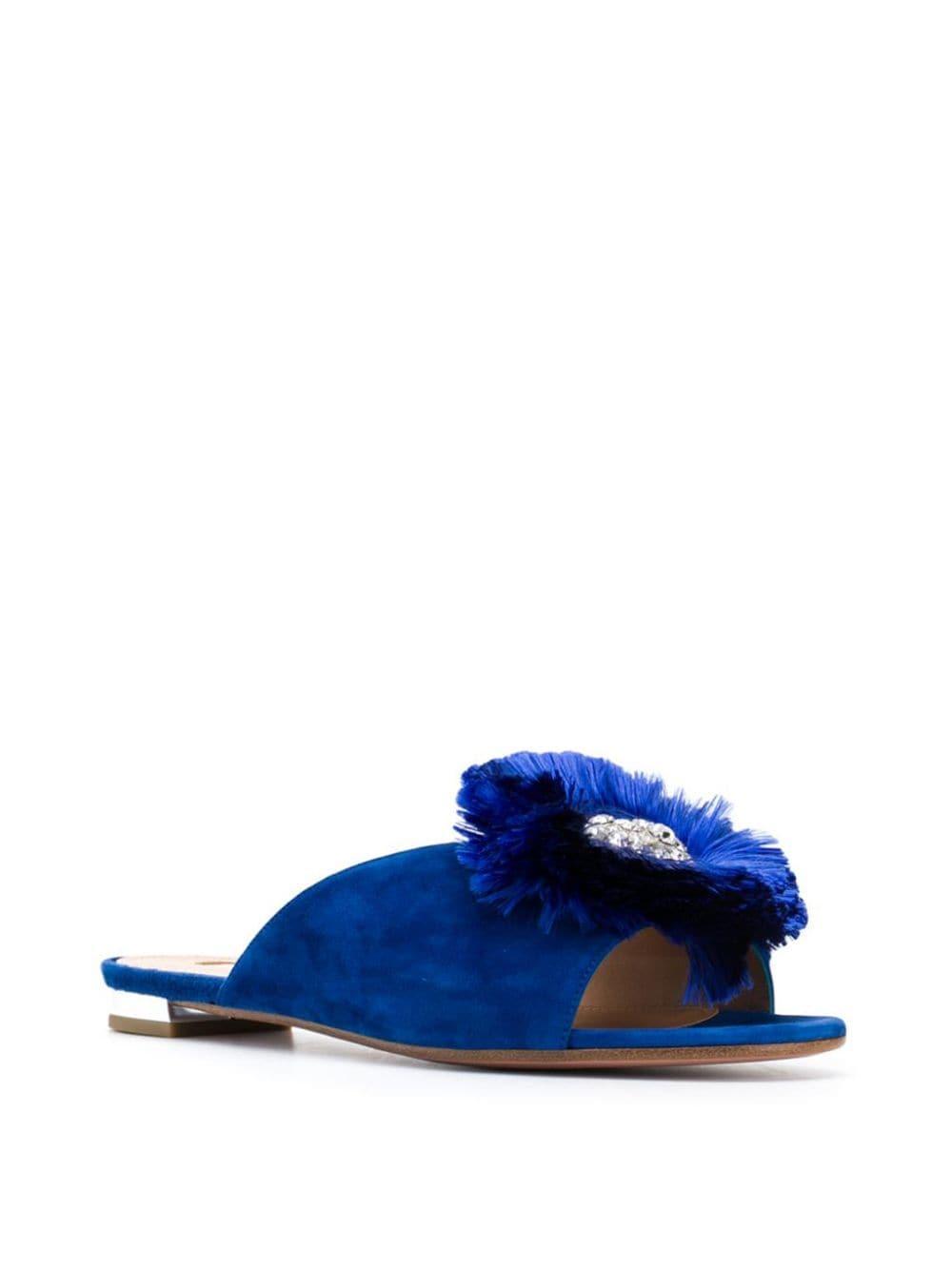 Slippers Lotus con cristales Aquazzura de Cuero de color Azul