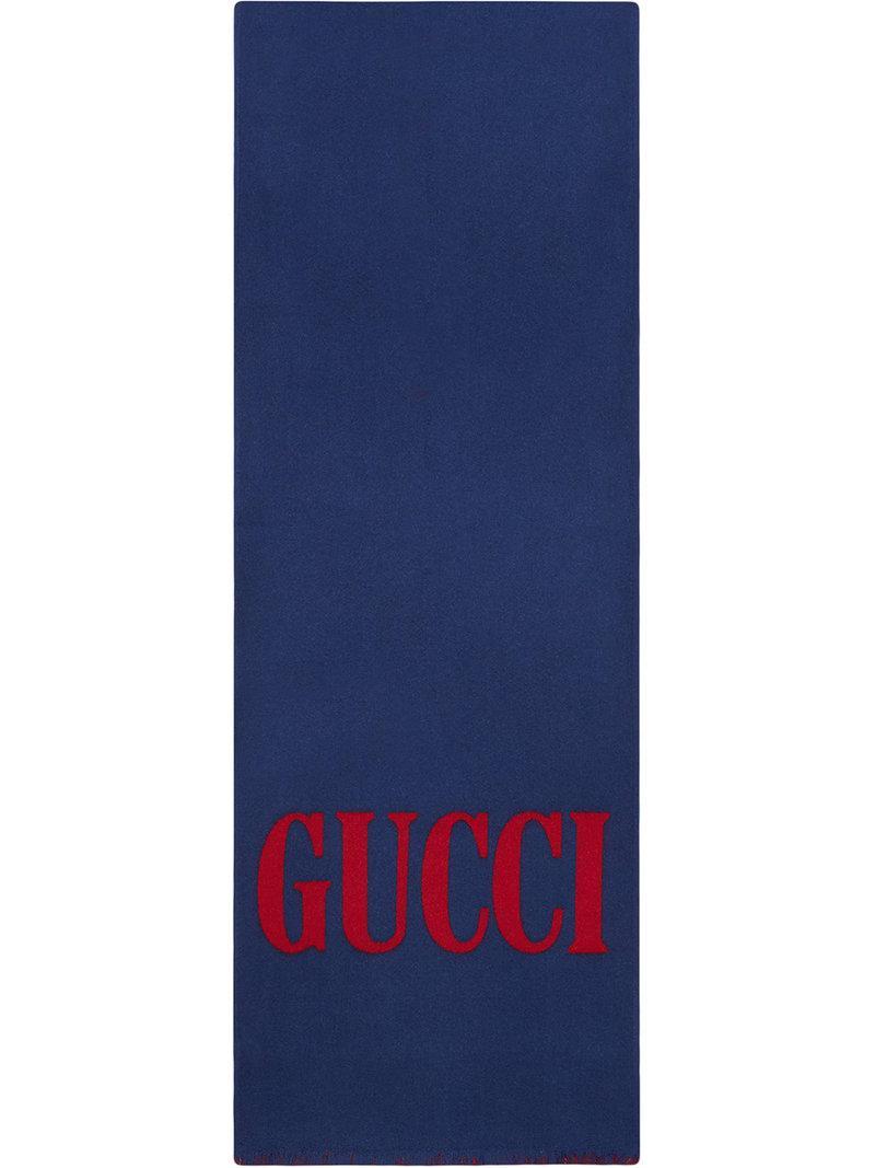 f1a555fdd500 Lyst - Foulard en jacquard de laine et soie avec logo Gucci pour ...