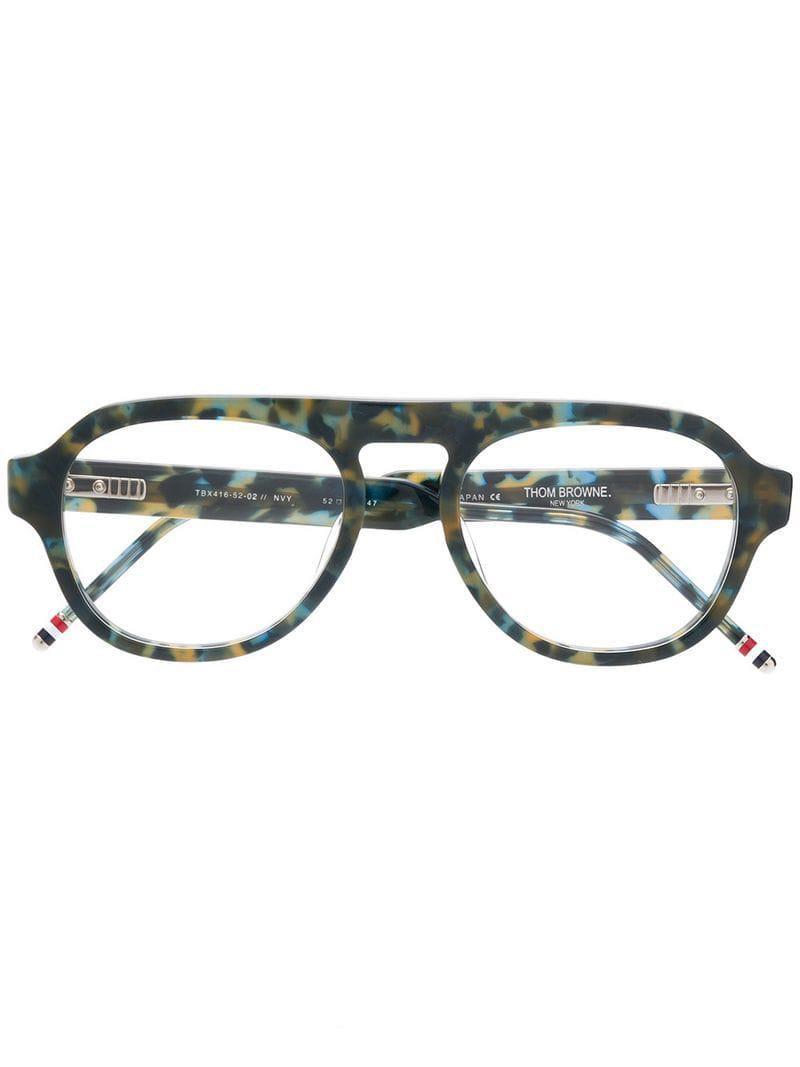 8fd9c919713 Thom Browne Navy Tortoise Glasses in Blue for Men - Lyst