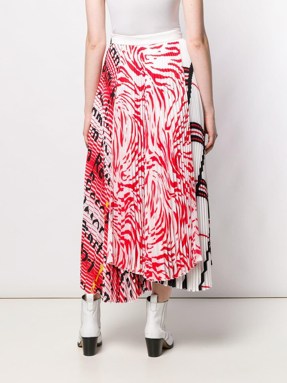 Jupe plissée imprimée Soie MSGM en coloris Blanc