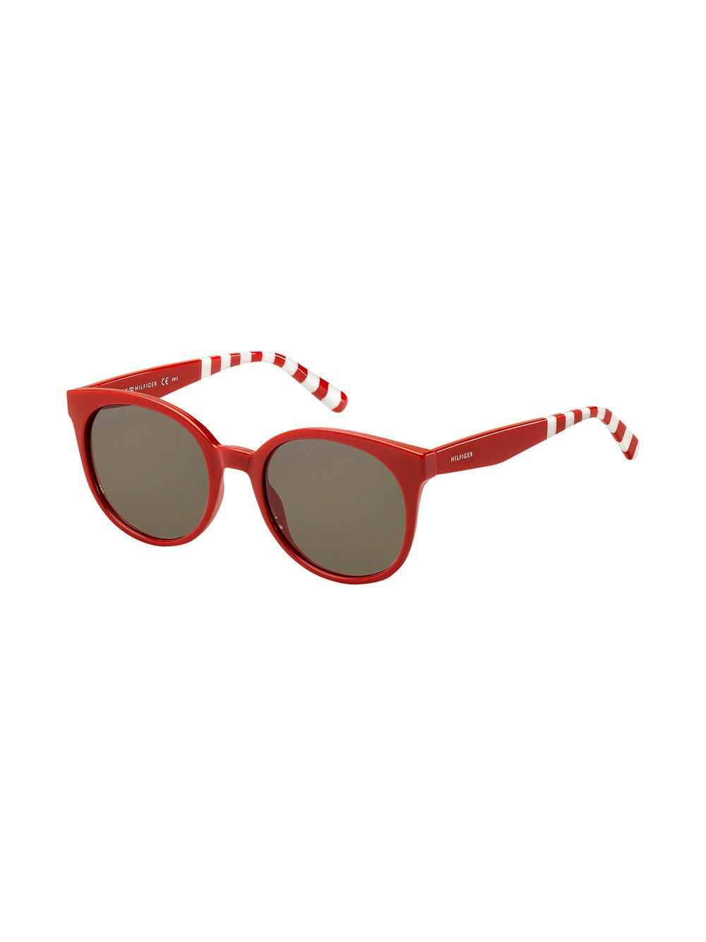 f5eb769a Lyst - Tommy Hilfiger Oversized Round Frame Sunglasses in Red