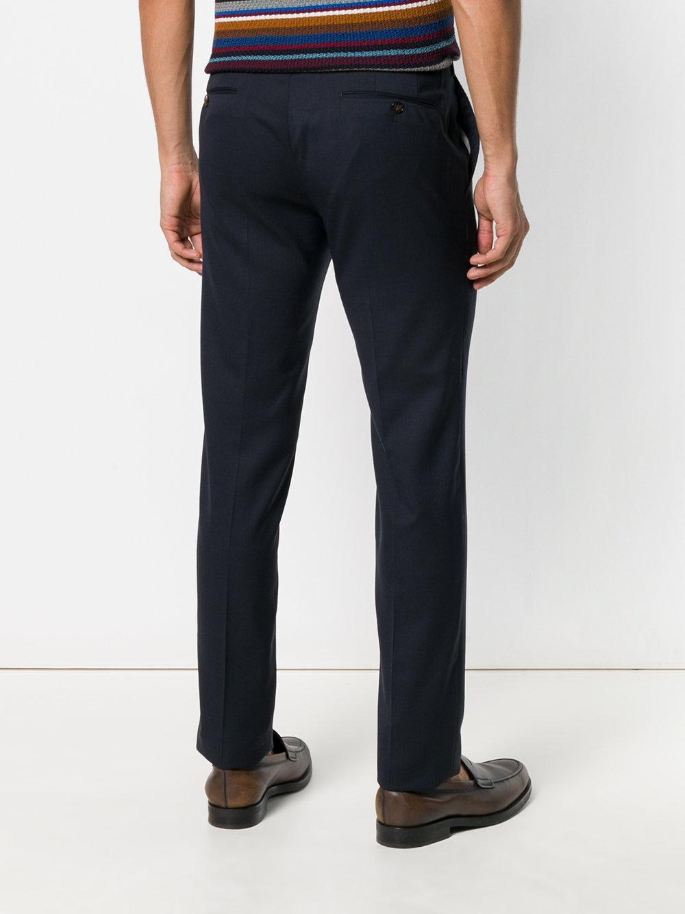 PT01 Wool Slim Trousers in Blue for Men