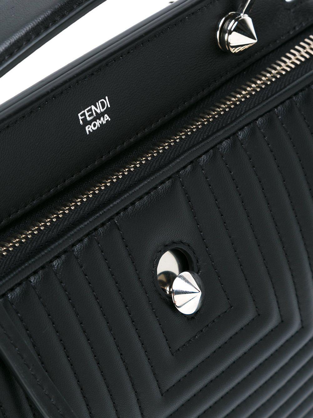 Fendi Leather Small 'dotcom Click' Tote in Black