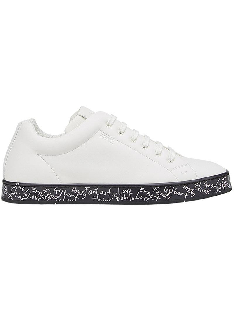 Fendi Leather Lace Up Sneakers In White For Men Lyst