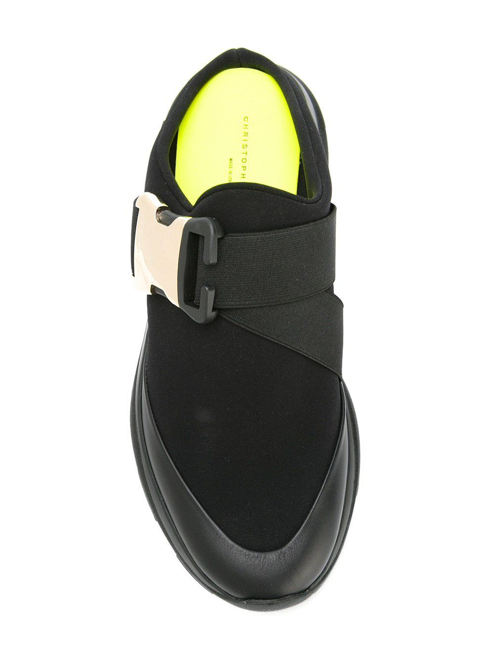 Christopher Kane Leather Safety Buckle Sneakers in Black