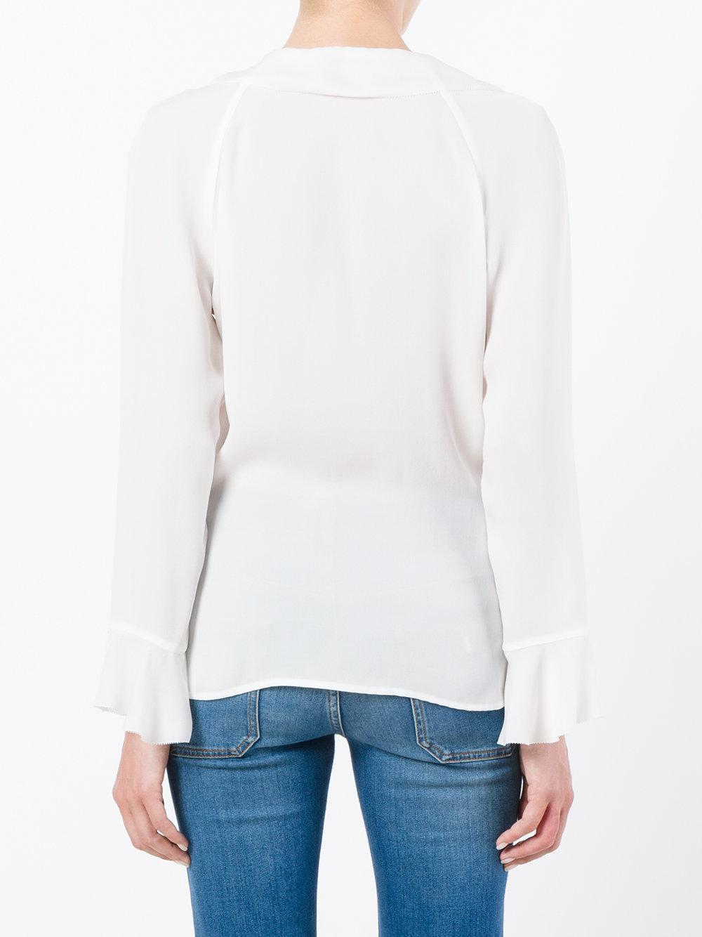 ca892365c5e5d8 Lyst - Etro Ruffled Wrap Blouse in White