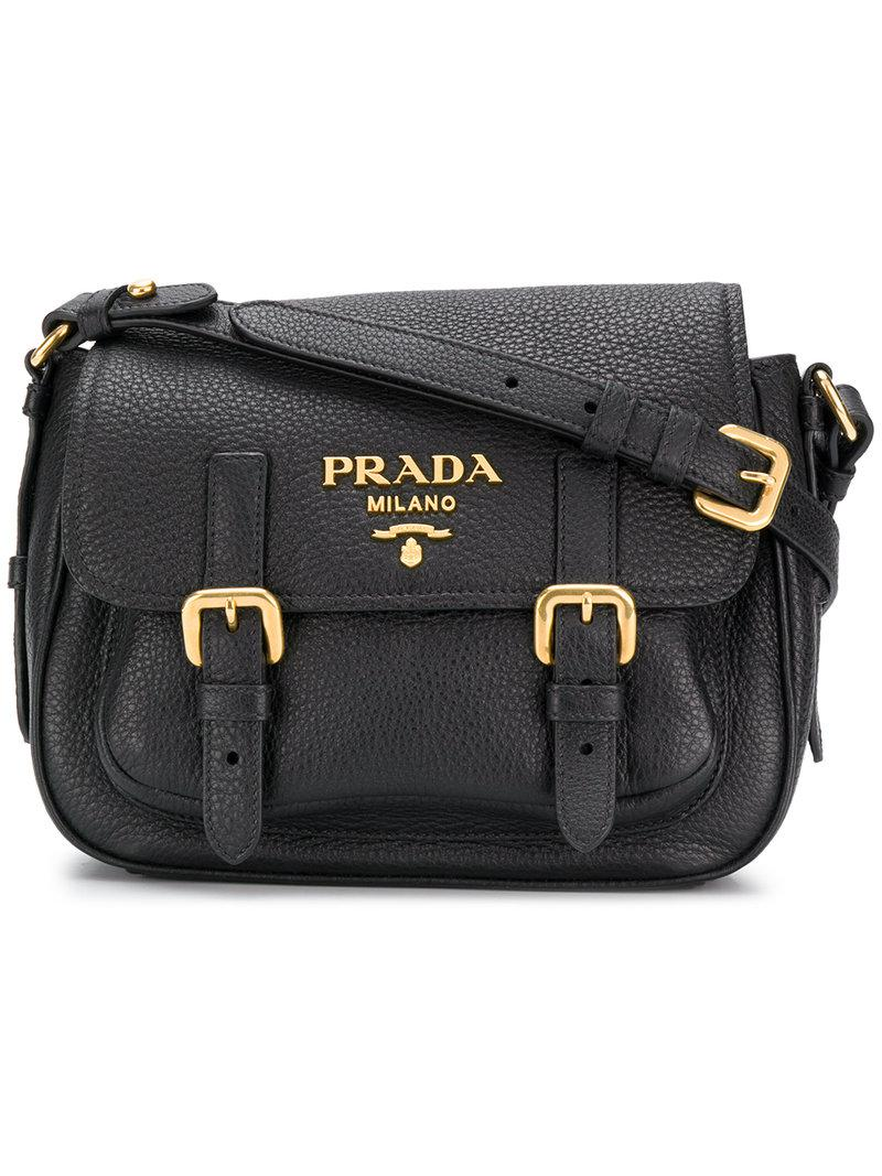 45453d11d61d Lyst - Prada Buckle Flap Crossbody Bag in Black