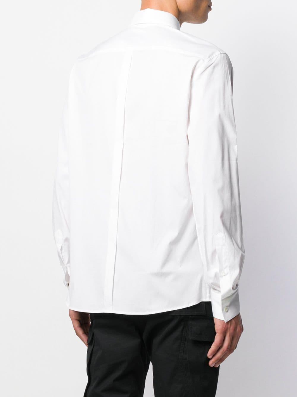 Les Hommes Katoen Overhemd Met Lange Mouwen in het Wit voor heren