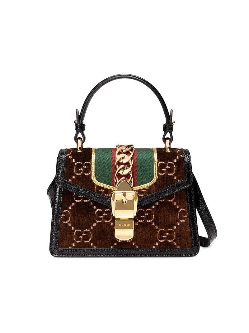 3ee5d892357 Gucci Brown Sylvie GG Velvet Mini Bag in Brown - Lyst