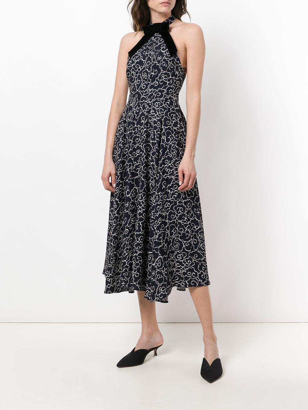 printed flared dress - Blue AlexaChung dZXew