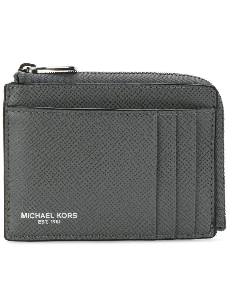 499c520c028c Lyst - Michael Kors Zip Around Card Holder Wallet in Gray for Men