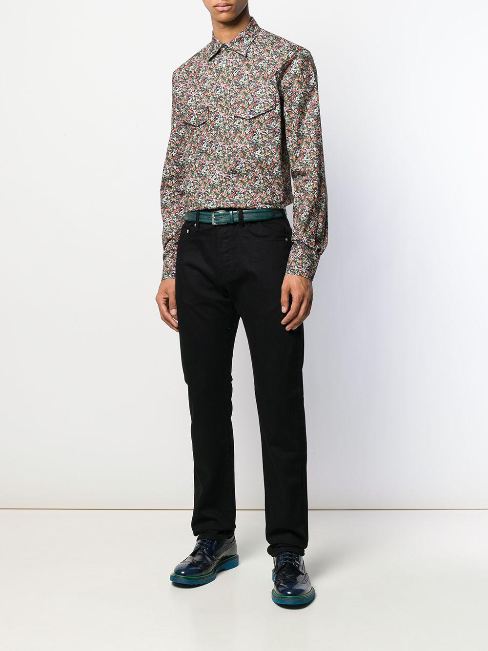Paul Smith Katoen Overhemd Met Bloemenprint in het Blauw voor heren