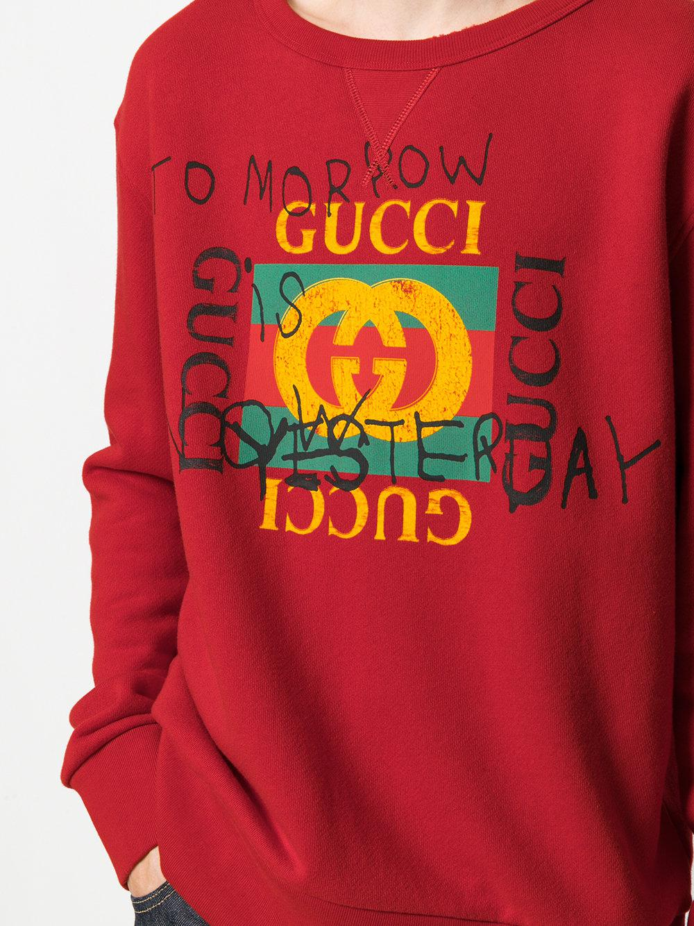 29b1fb6c9db6 Gucci Coco Capitán Logo Sweatshirt in Red for Men - Lyst