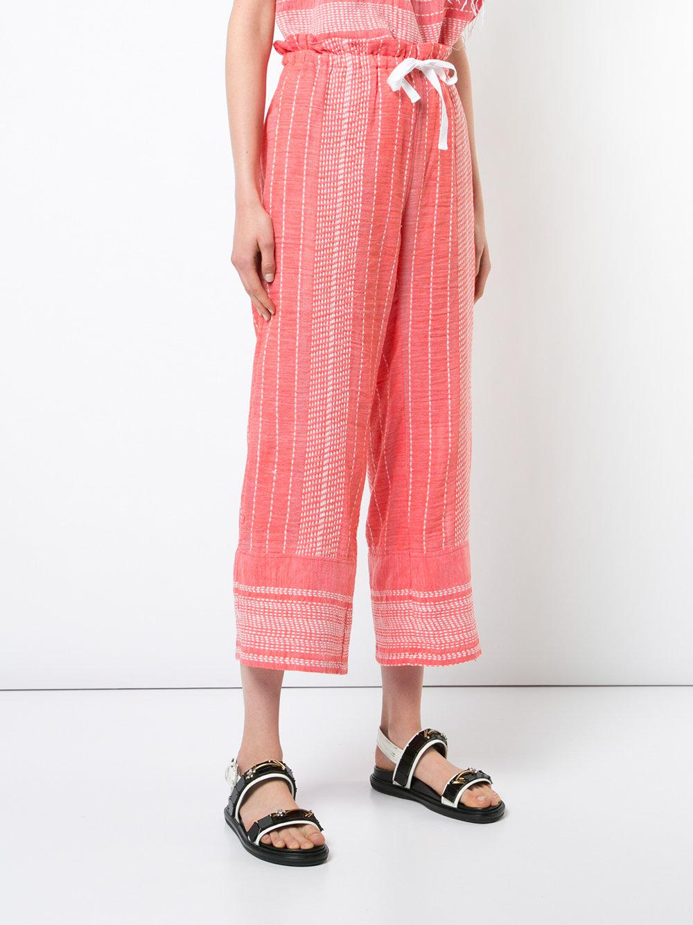 Pantalones holgados lemlem de Algodón de color Rojo