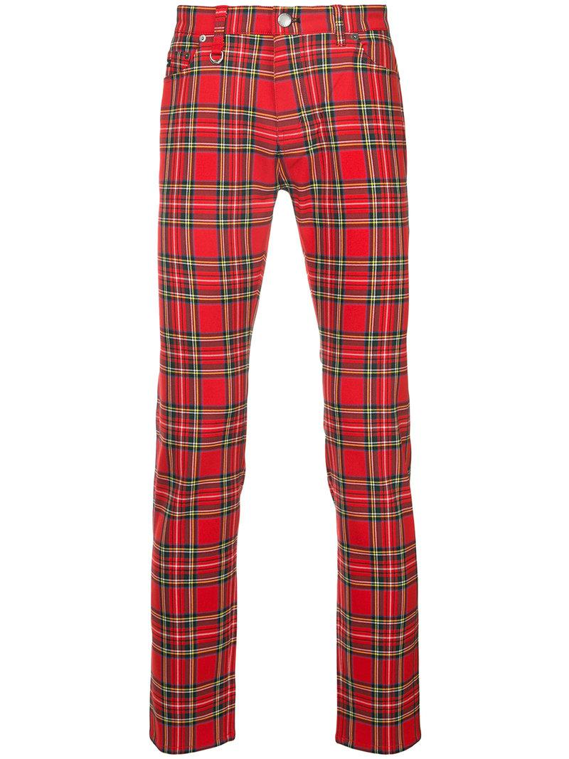 Guild Prime Synthetic Plaid Slim Fit Trousers In Red For