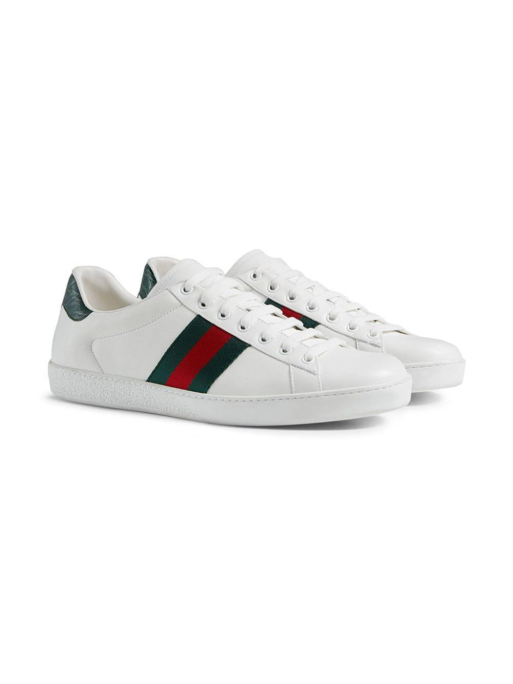 9c7f861fd Gucci Ace Leather Sneakers in White for Men - Save 25% - Lyst