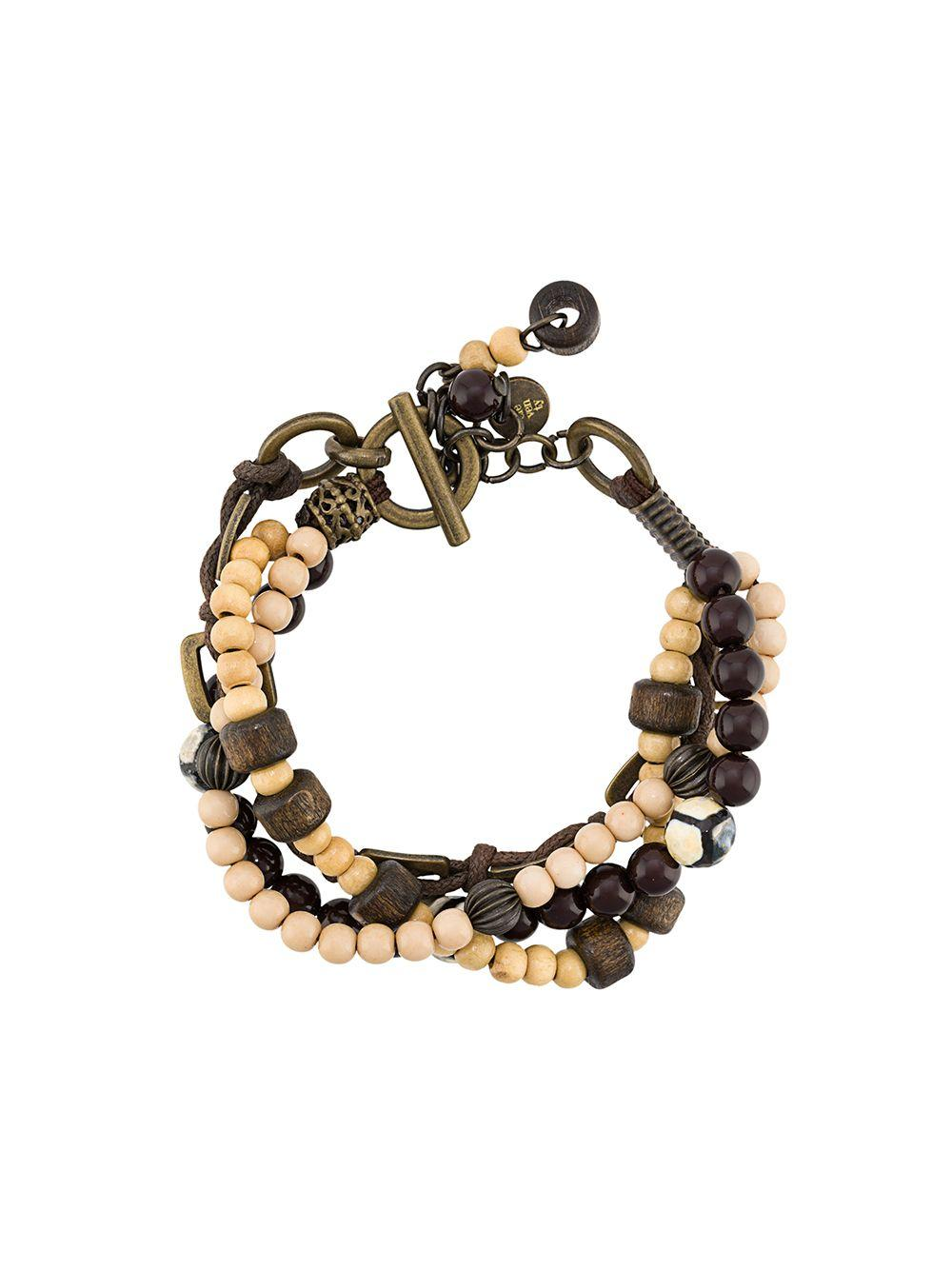African Trade Bead Artisan Jewelry Black Spinel Black Onyx Bracelet and 24k Gold Vermeil Gold Crescent Moon Charm Celestial Jewelry