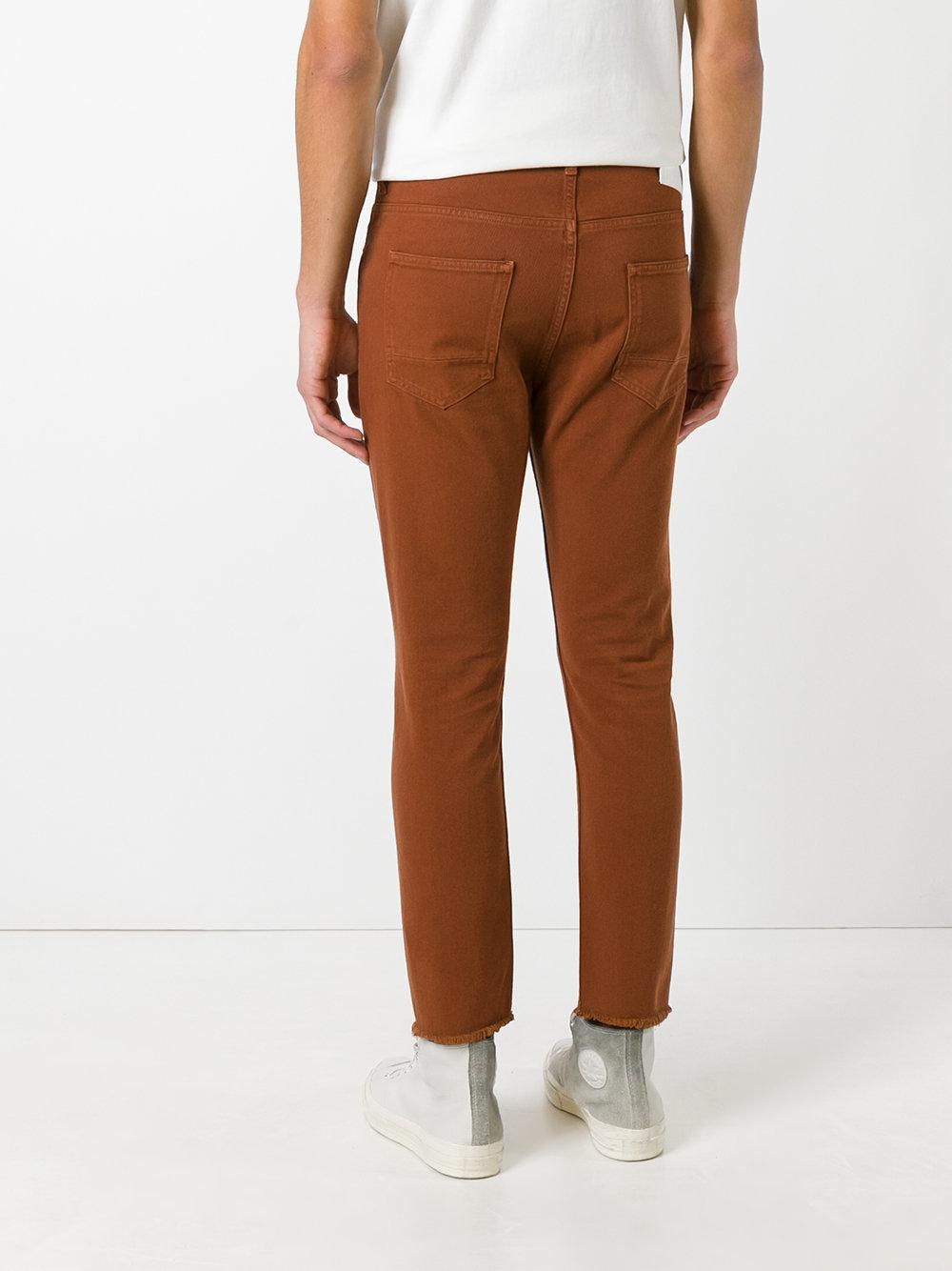 Golden Goose Deluxe Brand Cotton Frayed-edge Trousers in Yellow & Orange (Brown) for Men