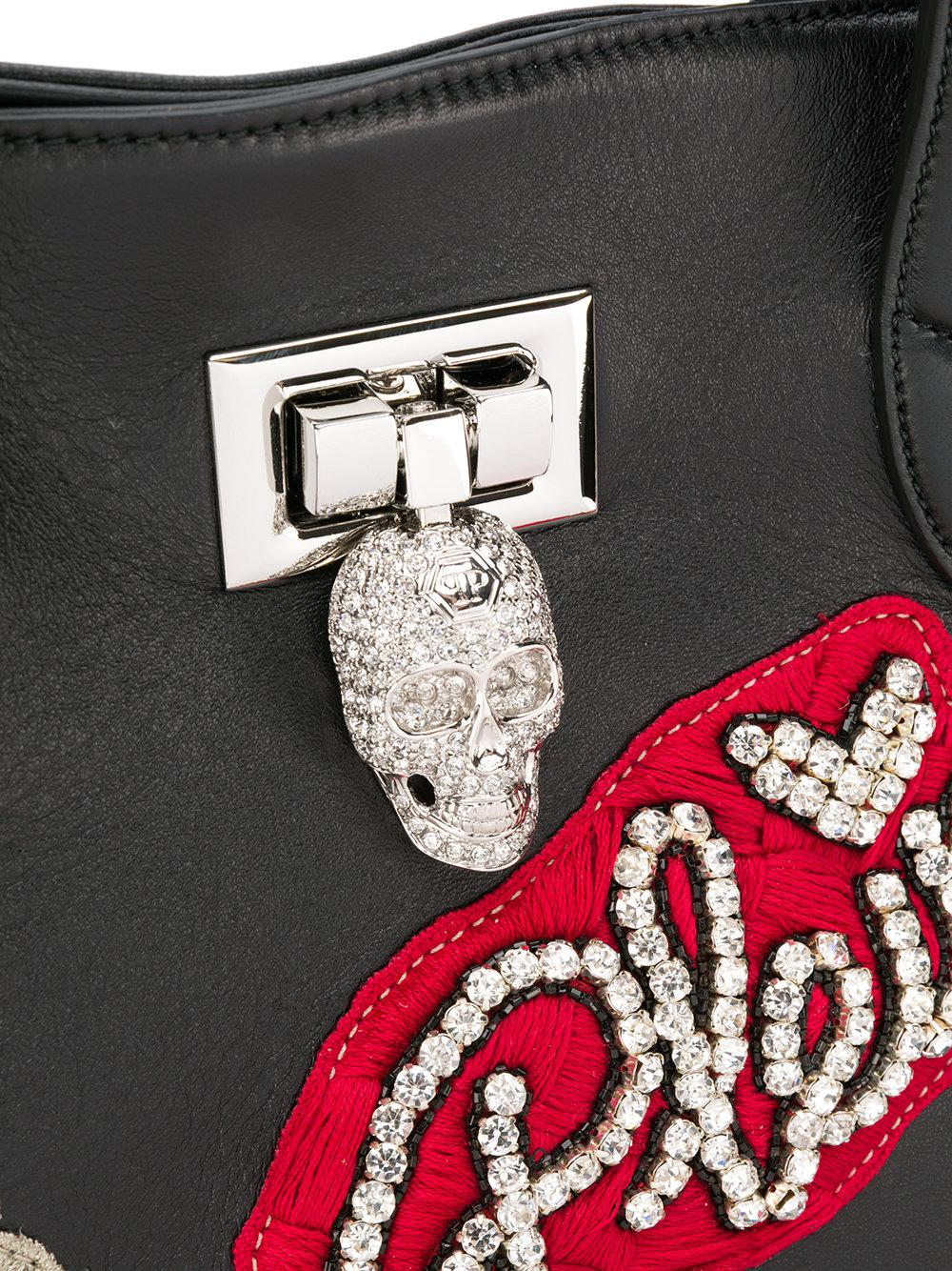 Philipp Plein Leather Floral Appliqué Tote Bag in Black