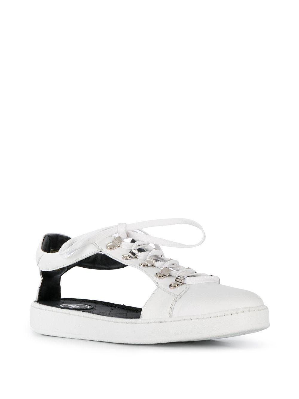 Zapatillas bajas con aberturas Balmain de Cuero de color Blanco para hombre