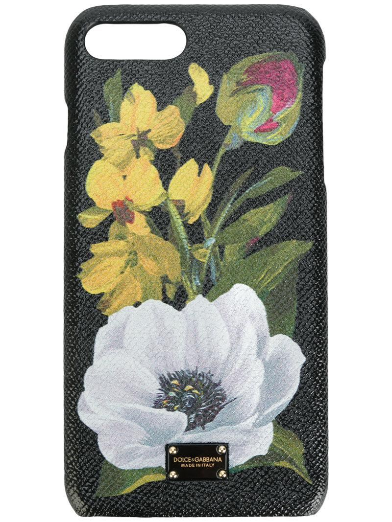 Dolce Gabbana Leather Floral Iphone 7 Plus Case In Green Lyst