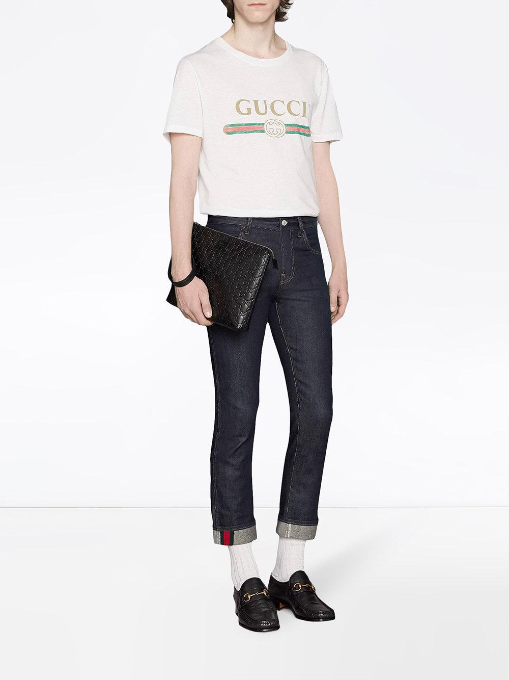 c1739a348a0009 Gucci - Black Signature Soft Men's Bag for Men - Lyst. View fullscreen