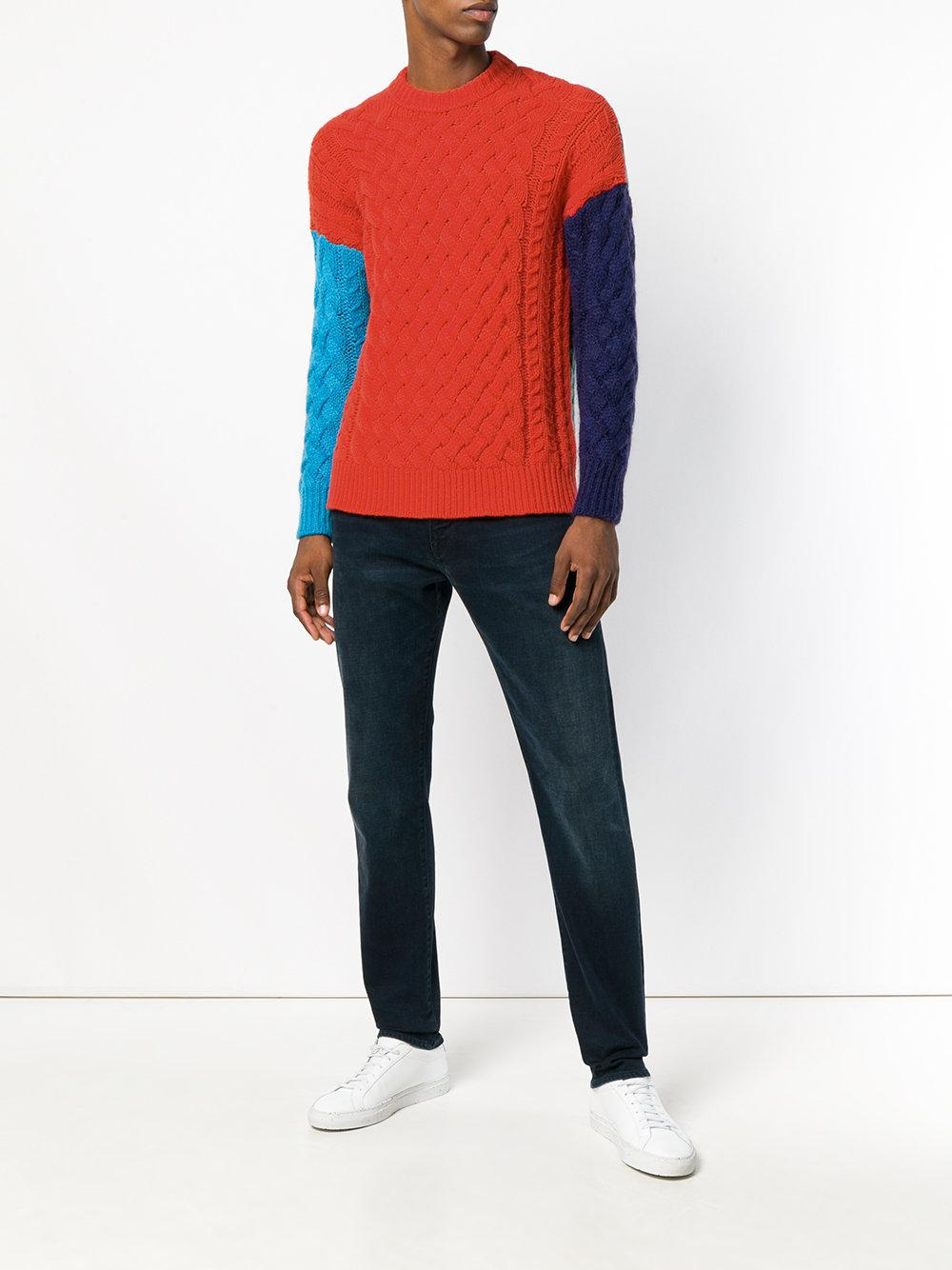 Roberto Collina Synthetic Colour Block Jumper for Men