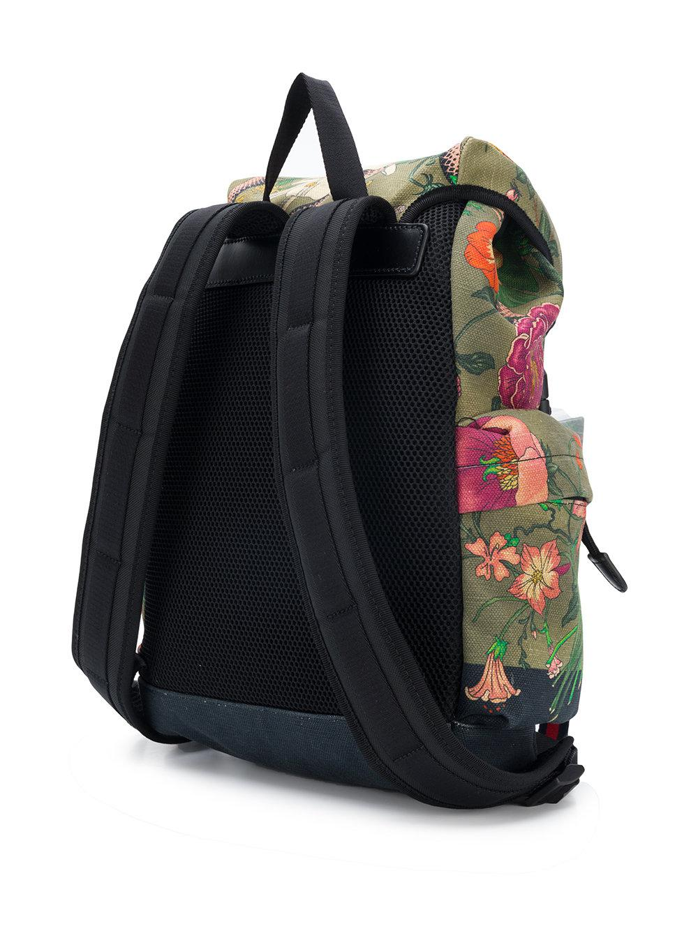 ac8b6ab16652 Lyst - Gucci Flora Snake Print Backpack in Green for Men