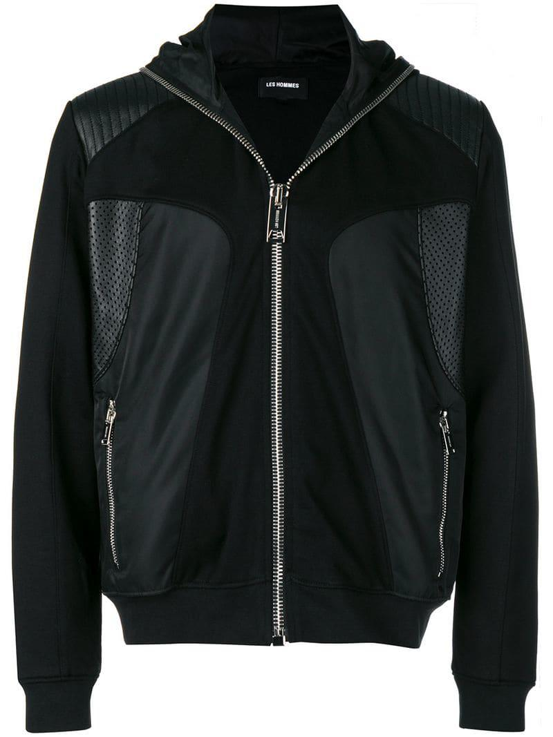 fa47acce22 Les Hommes Hooded Technical-style Jacket in Black for Men - Lyst