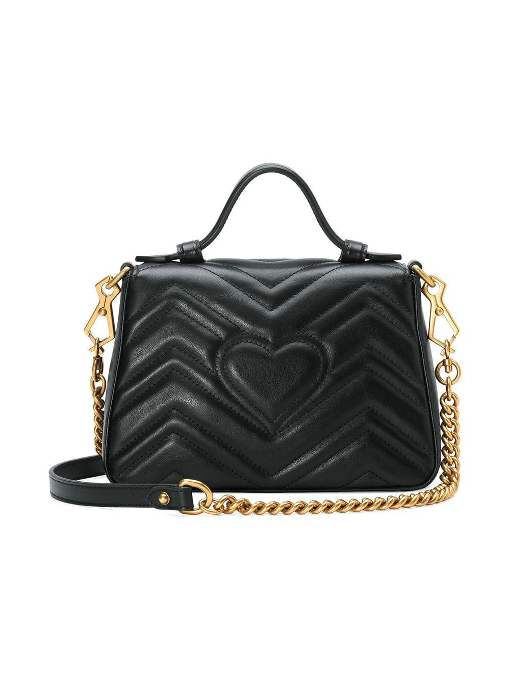 687afe7f973 Gucci Marmont 2.0 Leather Top Handle Bag in Black - Lyst
