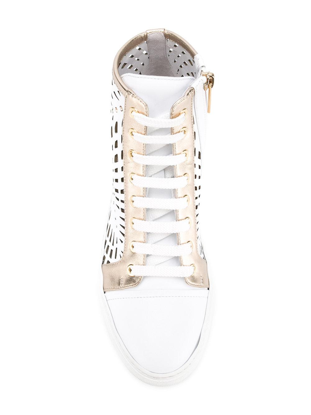 Loriblu Leather Cut-out Panel Sneakers in White