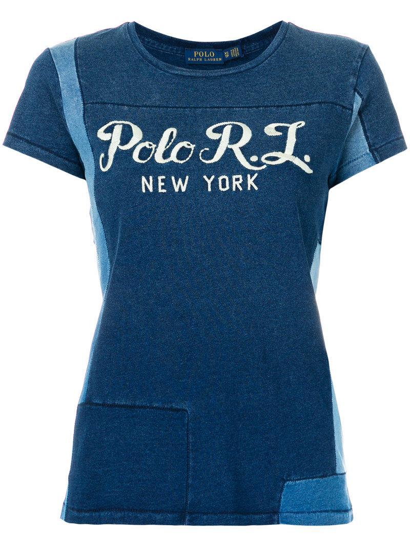 polo ralph lauren patchwork t shirt in blue lyst. Black Bedroom Furniture Sets. Home Design Ideas