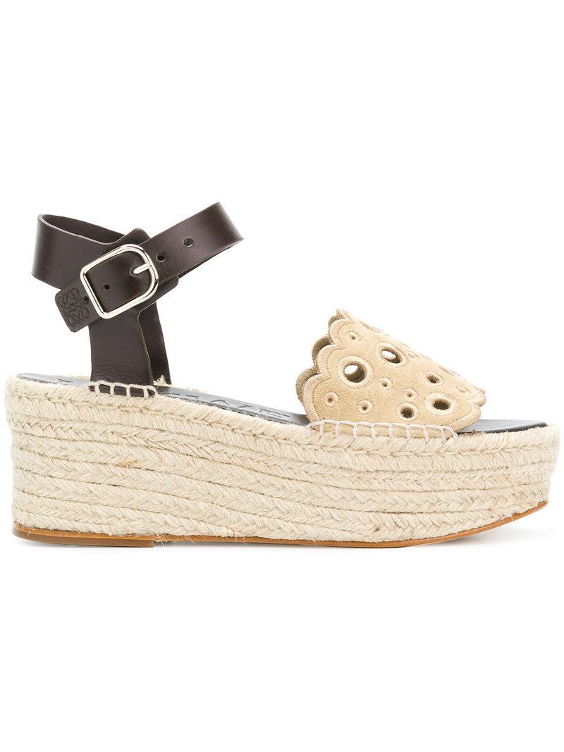 best seller cheap price Loewe perforated wedge sandals cheap brand new unisex jtMQ7K9Qg