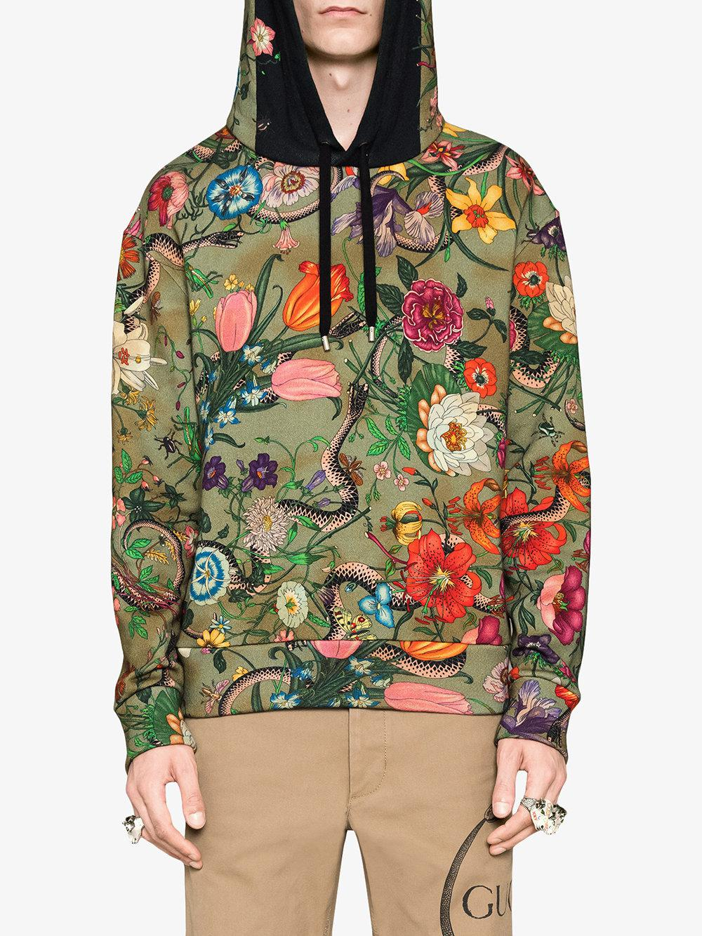 98224809ce6f Lyst - Gucci Flora Snake Print Cotton Sweatshirt in Green for Men